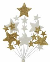 Christening cake topper decoration in gold and white - free postage